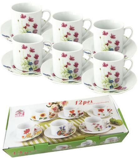 """Чайный набор """"Розовый цветок"""" 6 чашек 250мл и 6 блюдец"""