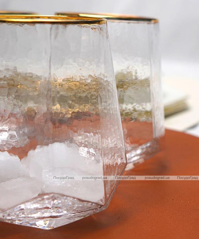 "Набір 6 склянок Facets ""Blur"" 520мл, скло із золотим кантом"