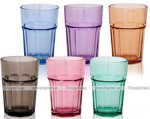 Набір 6 склянок Colorful 360мл, кольорове скло