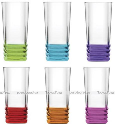 Набір 6 склянок Colorful 335мл з кольоровим дном