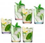 Набір 6 склянок LAV Color 520мл скляні з кольоровим дном