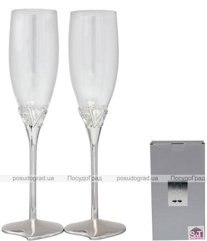 Набор 2 фужера Wedding Love для шампанского 220мл, стекло+металл