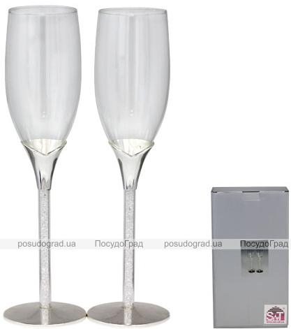 Набор 2 фужера Wedding Crystal для шампанского 220мл, стекло+металл