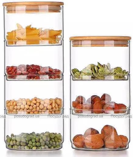 Набор 4 стеклянных емкости Cadassi 400мл для хранения продуктов с бамбуковой крышкой
