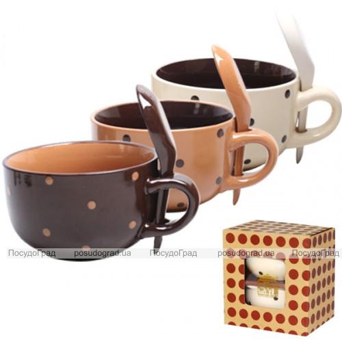 Набор чашек для бульона с ложкой 450мл Карамель 2 шт