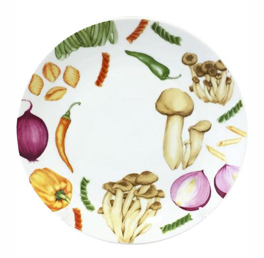 """Набор 6 мелких тарелок """"Овощи"""" Ø20см, керамика"""