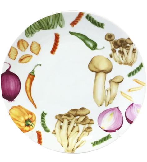 """Набор 6 подставных тарелок """"Овощи"""" Ø25.4см, керамика"""