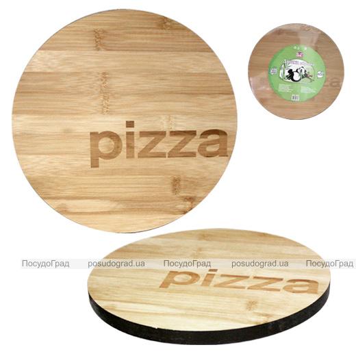 """Доска кухонная """"Pizza"""" Ø25см для пиццы, бамбуковая"""