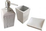 """Набір аксесуарів """"Алмаз"""" для ванної кімнати 3 предмета, кераміка"""