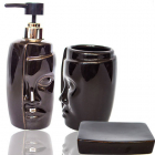 Набір аксесуарів для ванної кімнати «Face» дозатор, мильниця і стакан