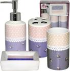 """Набір аксесуарів """"Ситець"""" для ванної кімнати 4 предмети, кераміка"""