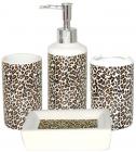 """Набор аксессуаров """"Леопард"""" для ванной комнаты 4 предмета, керамика"""