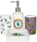 """Набір аксесуарів """"Павлине око"""" для ванної кімнати 4 предмети, кераміка"""