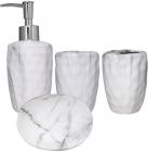 """Набір аксесуарів """"Мармур"""" для ванної кімнати 4 предмета, кераміка"""
