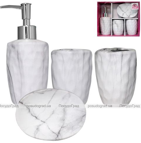 """Набор аксессуаров """"Мрамор"""" для ванной комнаты 4 предмета, керамика"""