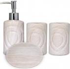 """Набір аксесуарів """"Дуб білений"""" для ванної кімнати 4 предмета, кераміка"""