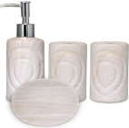 """Набор аксессуаров """"Дуб беленный"""" для ванной комнаты 4 предмета, керамика"""