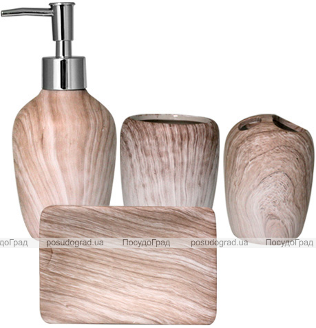 """Набор аксессуаров """"Бук"""" для ванной комнаты 4 предмета, керамика"""