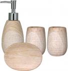 """Набор аксессуаров """"Белый ясень"""" для ванной комнаты 4 предмета, керамика"""