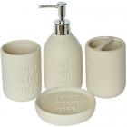 """Набор аксессуаров Bathroom """"EYL"""" для ванной комнаты: дозатор, мыльница и стакан"""