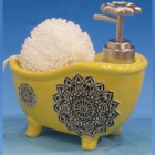 """Дозатор для жидкого мыла """"Ванночка"""" с губкой, желтый"""