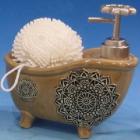 """Дозатор для жидкого мыла """"Ванночка"""" с губкой, коричневый"""