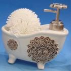 """Дозатор для жидкого мыла """"Ванночка"""" с губкой, белый"""