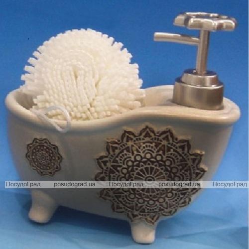 """Дозатор для жидкого мыла """"Ванночка"""" с губкой, серый"""