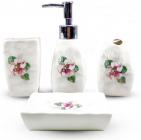 """Набір аксесуарів Floral """"Фіалка"""" для ванної кімнати 4 предмети, кераміка"""