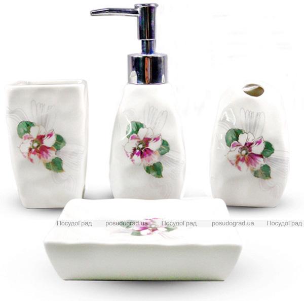 """Набор аксессуаров Floral """"Фиалка"""" для ванной комнаты 4 предмета, керамика"""