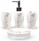 """Набір аксесуарів Floral """"Дзвіночки"""" для ванної кімнати 4 предмети, кераміка"""