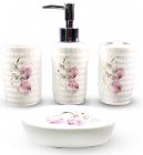 """Набор аксессуаров Floral """"Листики"""" для ванной комнаты 4 предмета, керамика"""