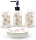 """Набір аксесуарів Floral """"Ромашки"""" для ванної кімнати 4 предмети, кераміка"""