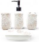 """Набор аксессуаров Floral """"Розы"""" для ванной комнаты 4 предмета, керамика"""