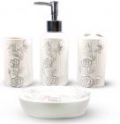 """Набор аксессуаров Floral """"Бабочка на цветке"""" для ванной комнаты 4 предмета, керамика"""