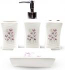 """Набор аксессуаров Floral """"Полевые цветы"""" для ванной комнаты 4 предмета, керамика"""