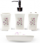 """Набір аксесуарів Floral """"Польові квіти"""" для ванної кімнати 4 предмети, кераміка"""