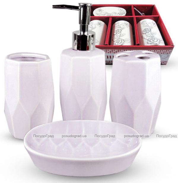 Набор аксессуаров Pure для ванной комнаты 4 предмета белый, керамика