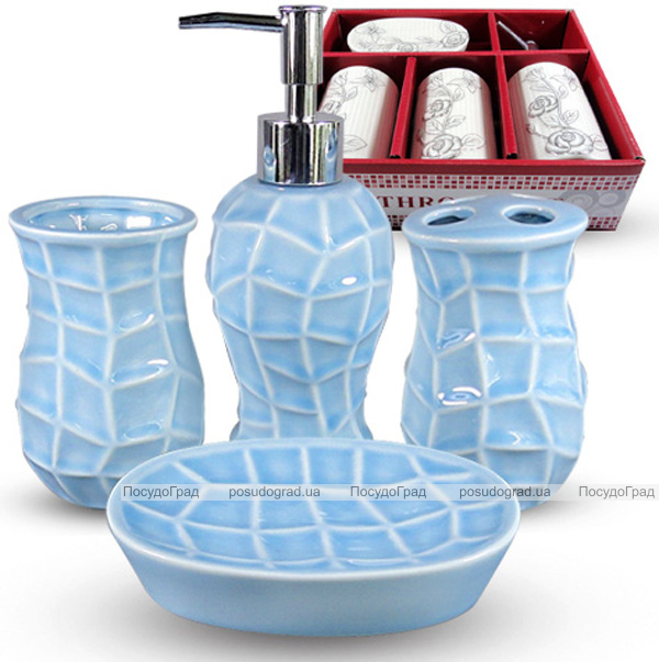 Набор аксессуаров Pure для ванной комнаты 4 предмета голубой, керамика