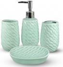 Набор аксессуаров Pure для ванной комнаты 4 предмета салатовый, керамика