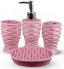 Набор аксессуаров Pure для ванной комнаты 4 предмета малиновый, керамика