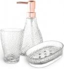 """Набір аксесуарів Fusion """"Crystal"""" для ванної кімнати: дозатор, мильниця і стакан"""