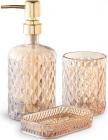 """Набір аксесуарів Fusion """"Amber"""" для ванної кімнати: дозатор, мильниця і стакан"""
