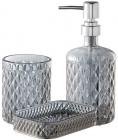 """Набір аксесуарів Fusion """"Obsidian"""" для ванної кімнати: дозатор, мильниця і стакан"""