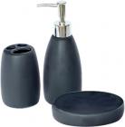 """Набір аксесуарів Bathroom """"Black"""" для ванної кімнати: дозатор, мильниця і стакан"""