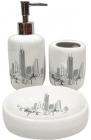 """Набір аксесуарів Bathroom """"City"""" для ванної кімнати: дозатор, мильниця і стакан"""