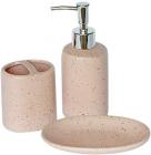 """Набор аксессуаров Bathroom """"Pink"""" для ванной комнаты: дозатор, мыльница и стакан"""