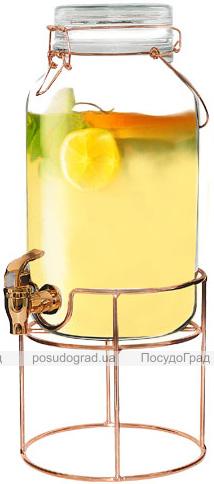 Кувшин-банка для лимонада 4л с краном на стальной подставке