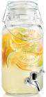 Кувшин-банка для лимонада 3.5л с краном и крышкой-затяжкой, стекло