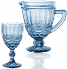 """Набор для напитков Elodia """"Винтаж"""" 6 фужеров 340мл и кувшин 1.15л, кобальтовое стекло"""